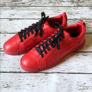 Zara Mens Contrast Lace Red Sneakers